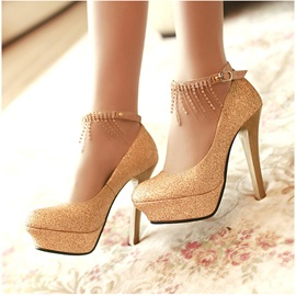Nice Solid Color Point Toe PU Stiletto Heels Platform Wedding Shoes