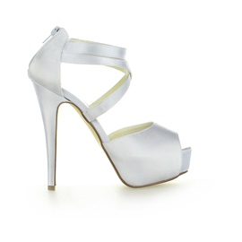 Peep-Toe Platform Satin Bridal Shoes
