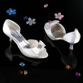 Rhinestone Bowknot Chunky Low Heel Wedding Shoes