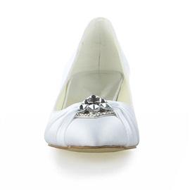 Point Toe Satin Chunky Low Heel Bridal Shoes