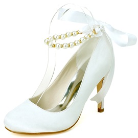 Simple Pearl Stiletto Heel Wedding Shoes