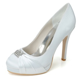 Round Toe Stiletto Heel Wedding Shoes
