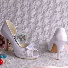 Pretty Bowknot Peep-toe High Heel White Wedding Shoes