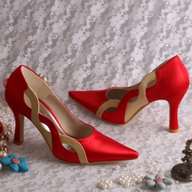Fashion Point Toe High Heel Red Wedding Shoes