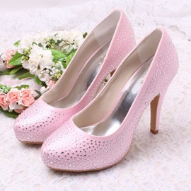 Beaded Round Toe Chunky High Heel Wedding Shoes