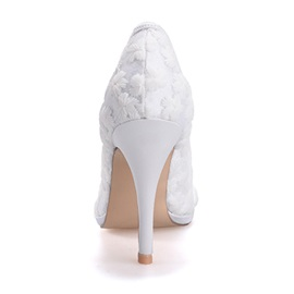 Sweet Pointed-Toe Lace Wedding Shoes