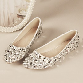 Crystal Pointed Toe Flat Wedding Shoes