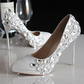 Crystal Pointed Toe Stiletto Heel Prom Shoes