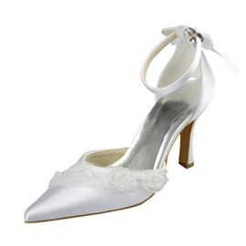 Lace Applique Pointed Toe Wedding Shoes