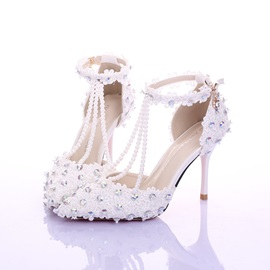 Beading Pointed Toe Applique Bridal Shoes