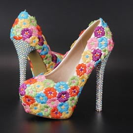 Rainbow Color Embroidered Platform Bridal Shoes
