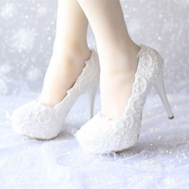 Beading Lace Applique Stiletto Heel Bridal Shoes