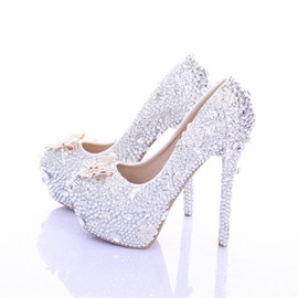 Bowtie Rhinestone Stiletto Heel Wedding Shoes