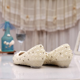 Beading Wedge Heel Bridal Shoes
