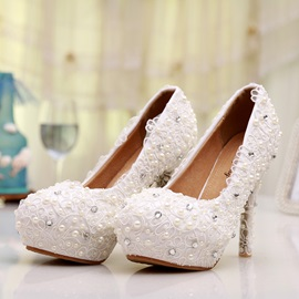 Beading&Lace Round Toe Stiletto Heel Wedding Shoes