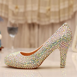 Full-Rhinestone High Heel Wedding Shoes