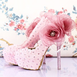 Rhinestone Lace Applique Stiletto Heel Wedding Shoes