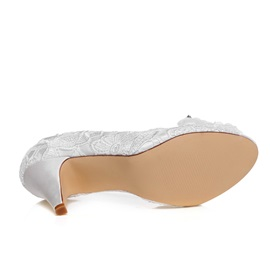 Peep-Toe Lace Applique Wedding Shoes