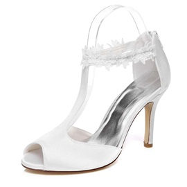 Charmeuse T-Strap Covering Heel Wedding Shoes