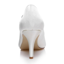 Bowknots T-Strap Charmeuse Wedding Shoes