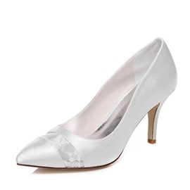 Lace Patchwork Charmeuse Wedding Shoes