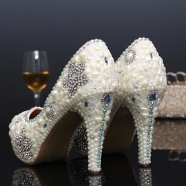 Crystal Beading Slip-On Wedding Shoes