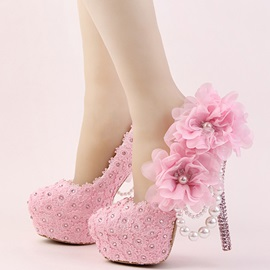 Pink Lace Appliques Rhinestone Platform High Heel Wedding Shoes