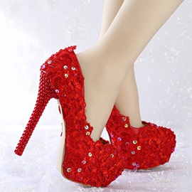 Lace Red Platform Stiletto Heel Wedding Shoes