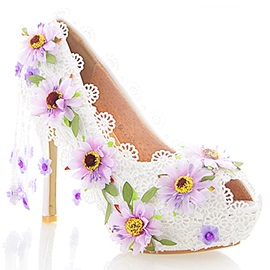 PU Slip-On Appliques Peep Toe Wedding Shoes