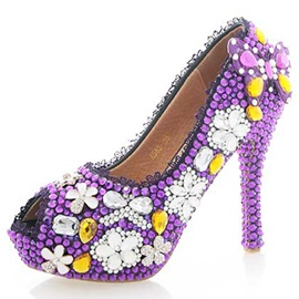 Purple Rhinestone Peep Toe high Heel Wedding Shoes