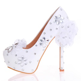 PU Slip-On Rhinestone Ultra-High Heel Wedding Shoes