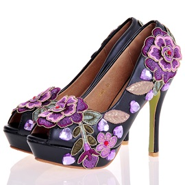 PU Appliques Embroidery Peep Toe Stiletto Heel Wedding Shoes