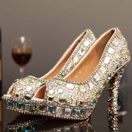 PU Rhinestone Stiletto Heel Glitter Wedding Shoes