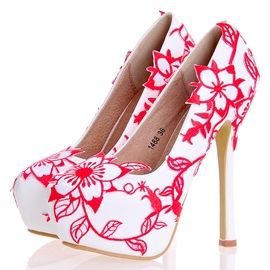 PU Slip-On Embroidery Stiletto Heel Wedding Shoes