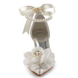 Silk Fabric Beads Appliques Bow Wedding Shoes