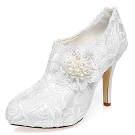 Lace Zipper Pointed Toe Women's Wedding Shoes
