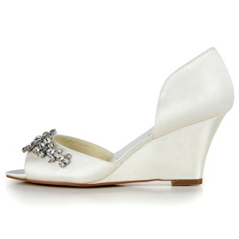 Silk Fabric Rhinestone Peep Toe Wedding Shoes
