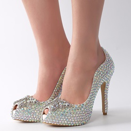 Faux Leather Rhinestone Slip-On Peep Toe Wedding Shoes