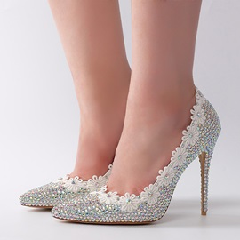 Faux Leather Slip-On Appliques Rhinestone Wedding Shoes