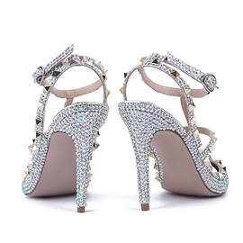 PU Buckle Closed Toe Rivet Strappy Flat Wedding Shoes