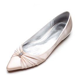 PU Bow Rhinestone Pointed Toe Slip-On Wedding Shoes