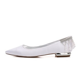 Silk Fabric Beads Rhinestone Flat Wedding Shoes