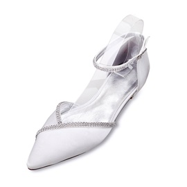 Silk Fabric Rhinestone Pointed Toe Heel Covering Wedding Shoes