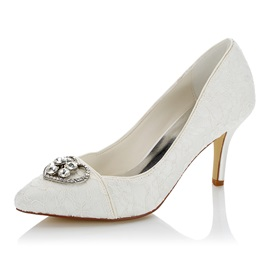 Lace Slip-On Heart Rhinestone Stiletto Wedding Shoes