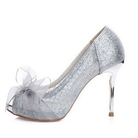 Glitter Peep Toe Bow Women's Wedding Shoes