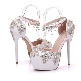 PU Rhinestone Fringe Rubber Stiletto Wedding Shoes