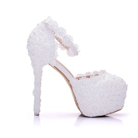 PU Beads Appliques Line-Style Buckle Wedding Shoes