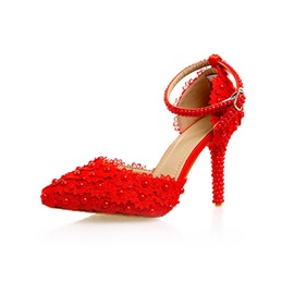 PU Pointed Toe Beads Plain Red Wedding Shoes