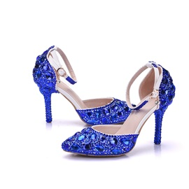 PU Rhinestone Pointed Toe Stiletto Blue Wedding Shoes