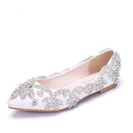 PU Rhinestone Pointed Toe Wedding Shoes